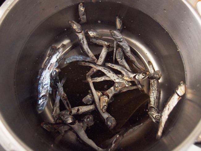 鍋に煮干しを加える