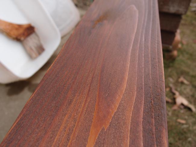 杉材をステインで塗装
