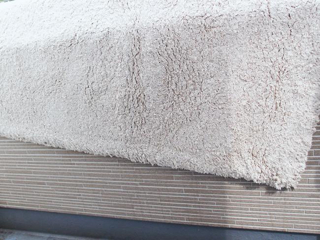 角度を付けてカーペットを干す